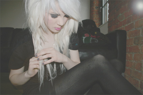 28-9, back and white, cute, cutie, delicate, fake, fashion, girl, not delicate, scene hair, white hair