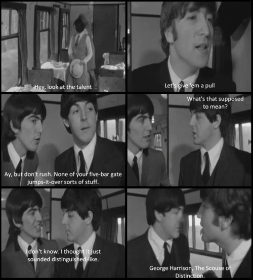 a hard days night, beatles, black and white, caption, cinema