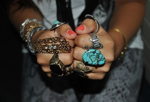 accessories, rings, teal rings