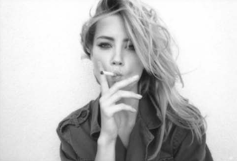amber heard, blonde, long hair, smoke