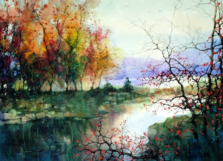aquarell, art, autumn, autumn leaves, beautiful