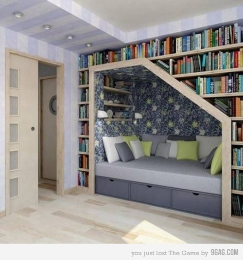 architecture, bed, bedroom, books, cozy, cute, decor, design, hide, house, library, pillows, read, room, write