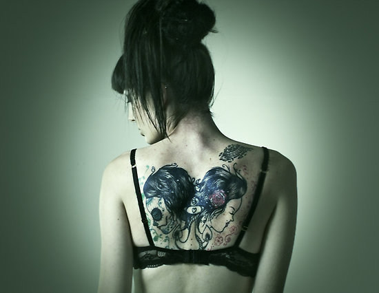 art, back, beautiful, girl, heart