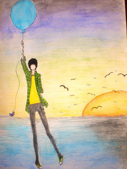 art, beach, boy, color, colorful, cute, draw, drawing, emo, fly, illustration, love, sea, separate with comma, sun set