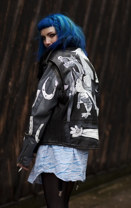 art, black leather, blue hair, gothabilly, junkie