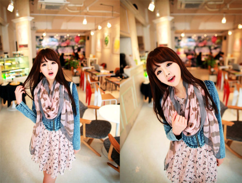 asian, cute, dress, fashion, girl, hair, kawaii, kfashion, pretty, scarf, sweet, ulzzang