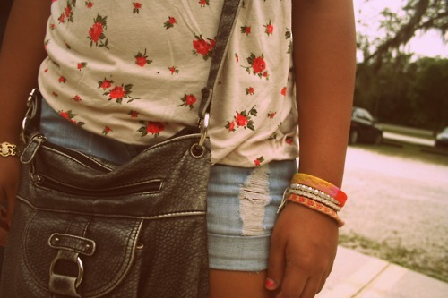 bag, bracelets, erica, fashion, floral
