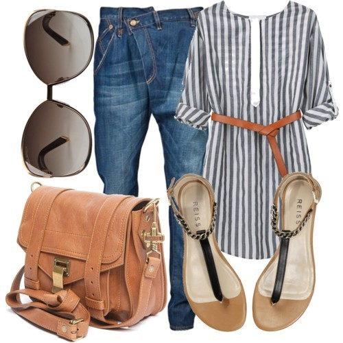 bag, by queenchristina, crossover jeans, fashion, flats, jeans, outfit, polyvore, shoulder bag, stripes, sunglasses, tunic
