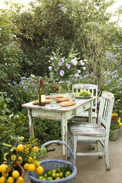 baguette, flowers, garden, green, shabby, summer, white, wine