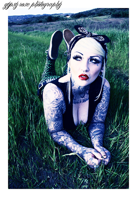 bandana, black, gothabilly, horror, psychobilly, red lips, tattooed, tattoos, zombie