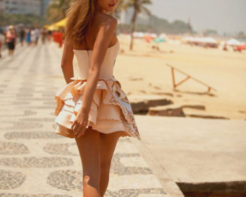 beach, blonde, design, dress, fashion, floral, girl, hair, hipster, peach, pink, pretty, running, separate with comma, tan, tanned