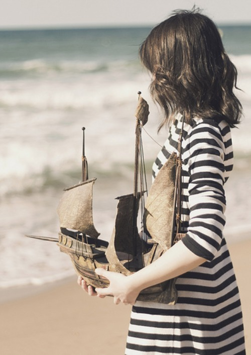 beach, blue, boat, brunette, girl, navy, sail, sea, stupid fashion