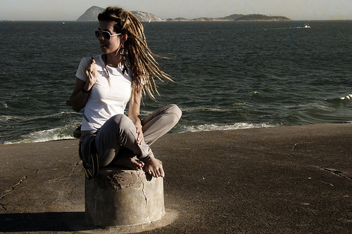 beach, dread, dreadlocks, dreads, girl, nature, sitting, sky