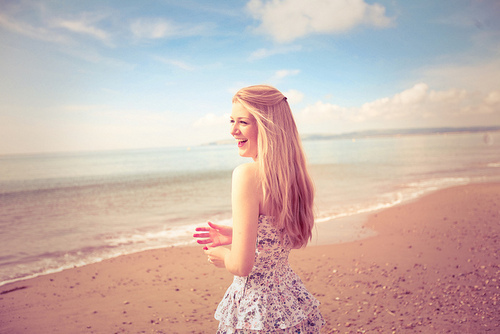 beach, dress, floral, girl, laugh