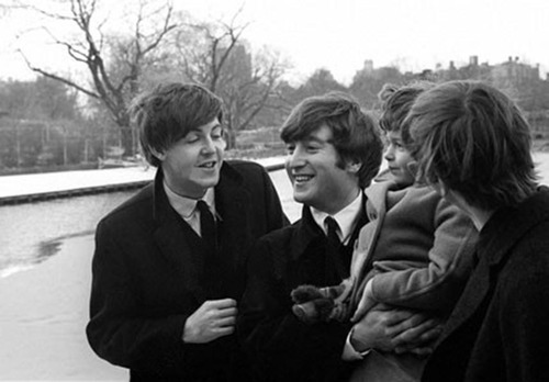 beatles, black and white, cute, john lennon, lovely, lucky little girl, paul mccartney, retro, ringo starr, the beatles, vintage