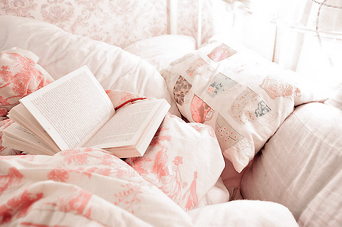 Beautiful bed bedding book books pastel pink image for Love pictures in bed