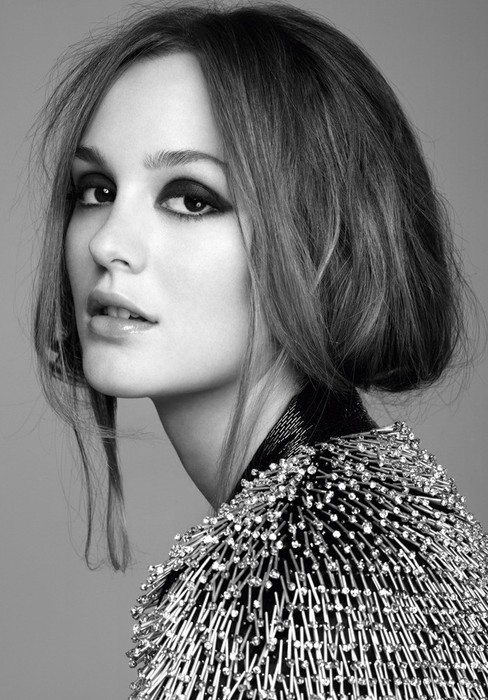 beauty, black and white, blair, fashion, hair, leighton meester, marie claire, smoky eyes