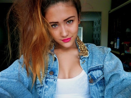 beauty, denim jacket, fashion, girl, gorgeous, leopard print, ombre hair, outfit, pink lips, pretty, style