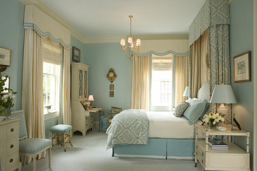 bed, bedroom, blue, chic, decor