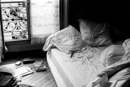 bed, black and white, blanket, book, light