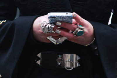 belt, blackberry, iphone, nail polish, nails, ring, rings, silver nail polish, spikes, studs, ysl ring