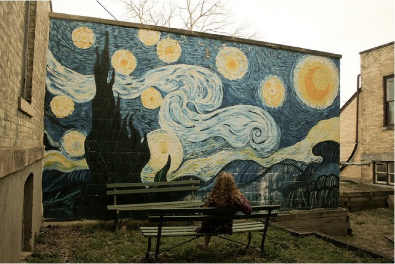 bench, cool, girl, outside, painting