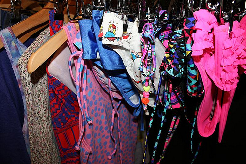 bikini, color, fashion, hangers, swimming