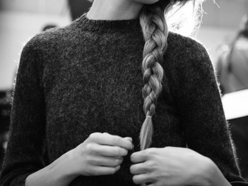 black and white, blonde, desaturated, fashion, girl, hair, jumper, photography, plait, separate with comma, side, wool