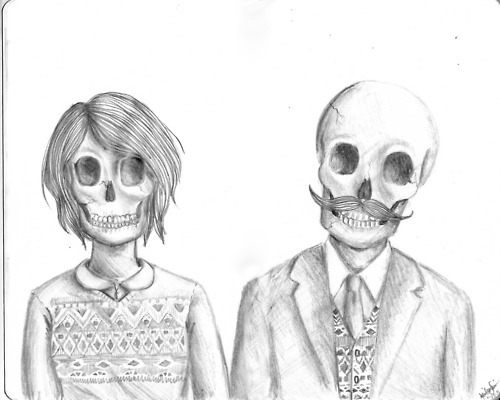 black and white, illustration, skeletons