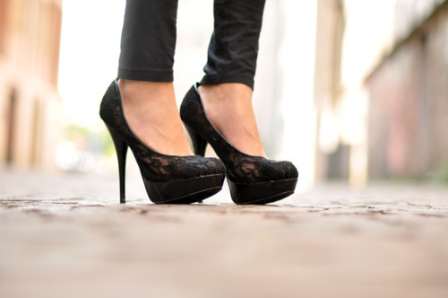 black, fashion, heels, lace, nero