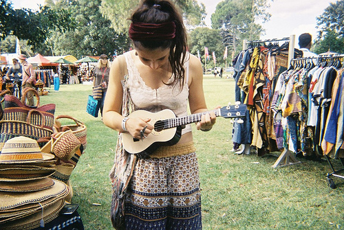 black hair, brunette, fashion, girl, guitar, hippie, peace, summer