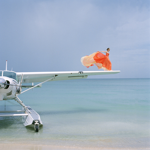 blue, boat, cool, cute, dress, fabric, fashion, flow, flowy, girl, gown, love, orange, plane, rodney smith, seaplane, water, wing