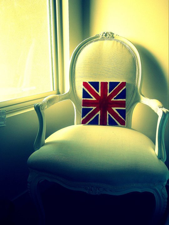 blue, chair, london, photography, red, union jack, vintage
