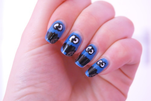 blue, cookie, cookiemonster, monster, nail