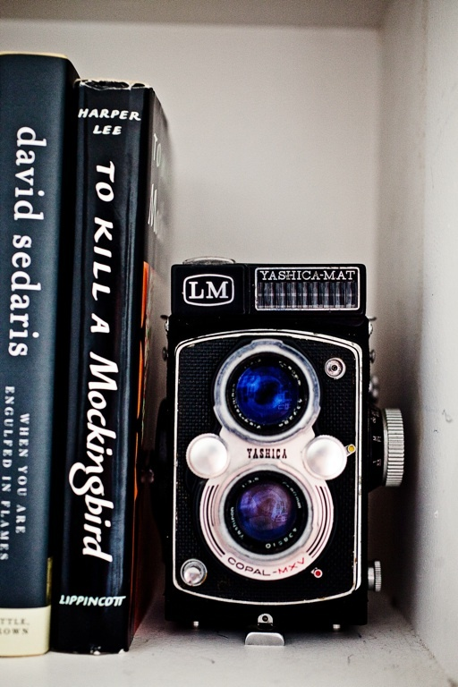 book, books, camera, old, retro, shelves, vintage