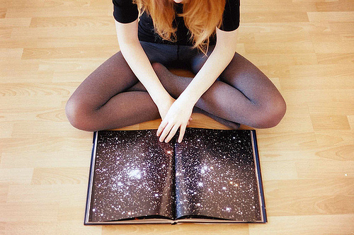 book, fashion, galaxy, stars