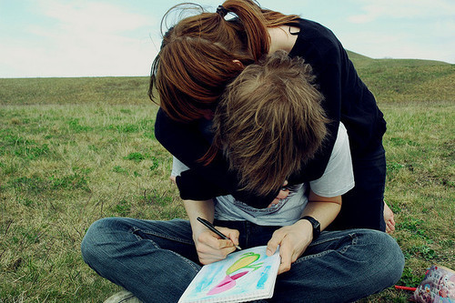 boy, couple, cute, draw, girl