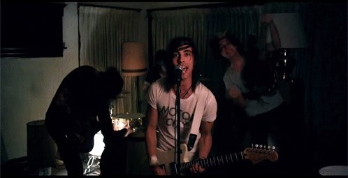 boy, cute, guitar, hair, jaime preciado, lamp, pierce the veil, tattoos, tony perry, vic fuentes, vocalist