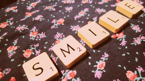 boy, flowers, forever, game, girl, happiness, happy, hope, life, lips, love, lucky, mouth, play, scrabble, smile, vintage