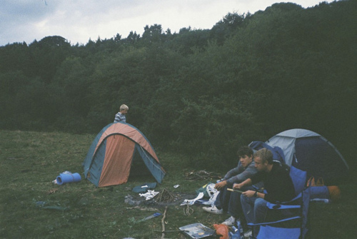 boys, campfire, camping, foggy, friends