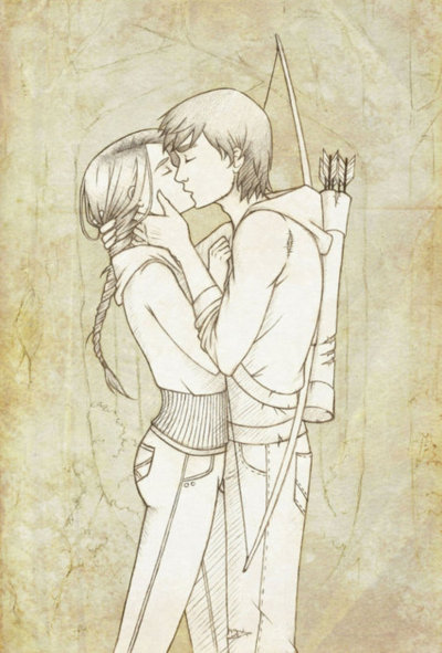 catching fire, couple, cute, drawing, everdeen