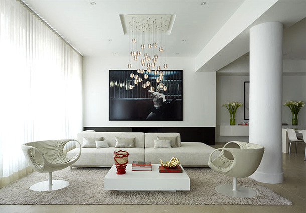 chandelier, contemporary, decor, interior, living room ...