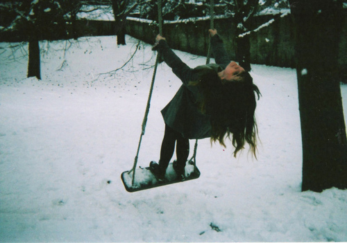 christmas, girl, hair, snow, swing, winter