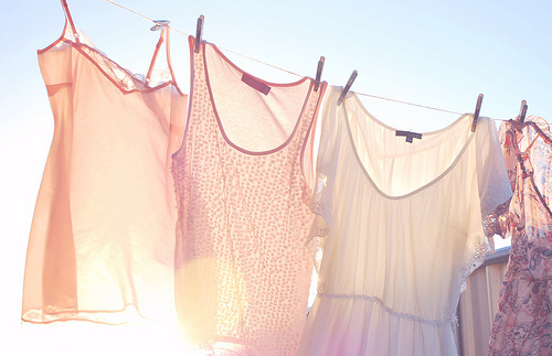 clothes, clothes line, clothes pins, hanging, pink, shirts, sky, summer, sun, washing line, wind