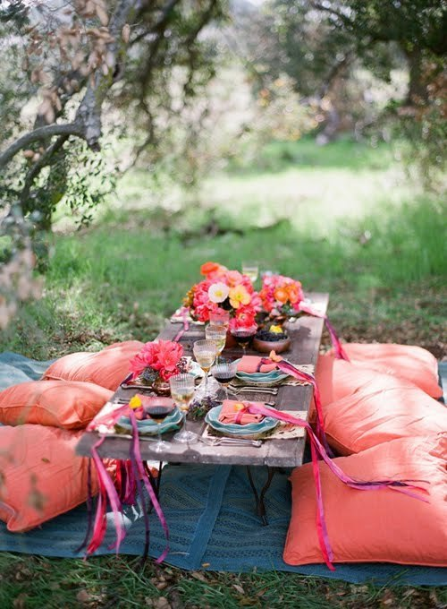 color, diner, flowers, park, picknick