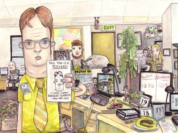 color, drawing, dwight schrute, graphic, illustration, illustrations, interesting, office, print, the office, yellow