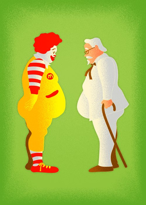 color, drawing, fast food, fast food usa, fat, graphic, green, illustration, illustrations, interesting, kfc, mcd, print, ronald mcdonal, ronald mcdonald, sethart80, symbolizes, usa, world fat, yellow