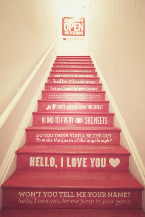 cute, heart, love, pink, quotes, separate with comma, stairs, sweet, words