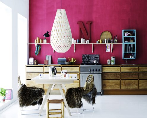 decor, design, fur, interior, kitchen, lamp, pink
