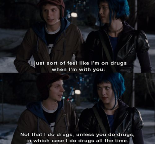 drugs, michael cera, ramona, scott pilgrim, subtitle, text